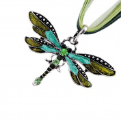 Akak Store Fashion Creative Bohemian Jewellery Ethnic Multi-layer Chain Colourful Enamel Dragonfly Pendant Necklace(Green)
