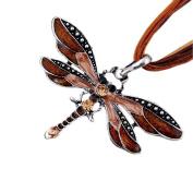 Akak Store Fashion Creative Bohemian Jewellery Ethnic Multi-layer Chain Colourful Enamel Dragonfly Pendant Necklace(Coffee)