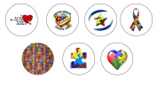 7 Pcs Autism Awareness Support Pinback Button Brooch 3.2cm