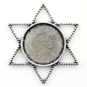 NewMe 10pcs 20mm inner size Antique Silver Planted Star of David Round Cabochon Pendant Setting Blank Pendants for Jewellery Making DIY Crafts Photo Glass Blank