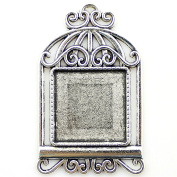 NewMe 8pcs 20mm inner size Antique Silver Planted Birdcage Square Cabochon Pendant Setting Blank Pendants for Jewellery Making DIY Crafts Photo Glass Blank