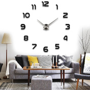 Adarl DIY Large Wall Clock 3D Mirror Surface Sticker Home Office Decor