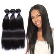 "Mornice Hair 100% Unprocessed Peruvian Remy Virgin Hair Weft Weave 3 Bundles 300G 8A Grade Real Silky Straight Human Hair Extensions Natural Black 8""8""8"""