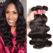 Jolia Hair 10 12 36cm Virgin Brazilian Body Wave 3 Bundles, 100% Unprocessed Virgin Brazilian Hair Weave Extensions, Natural Black Colour, No shedding and Tangle Free