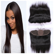 Derun Hair Best Quality 100% Virgin Brazilian Human Hair Silky Straight 25cm 13*4 Natural Colour ear to ear silk base lace Frontal Closure