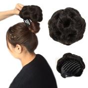 A & R@100% Human Hair Donut Bun Hair Extension Chignon Hairpiece Extensions Wigs(natural black)