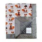 My Blankee Nifty Fox Steel Minky Dotted Blankets, Charcoal, 80cm x 90cm