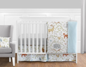 Blue, Grey and White Woodland Deer Fox Bear Animal Toile Girl or Boy Baby Bedding 11 Piece Crib Set Without Bumper