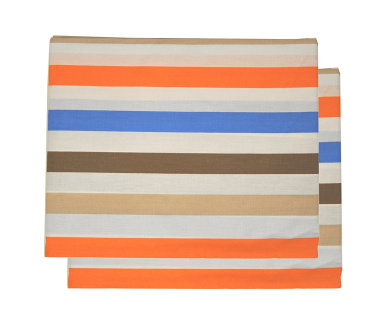 Bacati Crib Fitted Sheets, Mod Stripes Blue/Orange/Chocolate (Pack of 2)