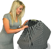 Premium Organic Cotton Adjustable Nursing Covers - Grey / Black Stripe Pattern - Many Colours and Patterns to Choose From - by Tykes and Tails
