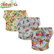 Ohbabyka Baby Training Nappy Pants,Baby Nappy Nappies Waterproof, 3PCS Pack