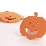 Package of 30 Flat Back Foam Jack O Lantern Cutouts for Halloween Crafting, Parties, and More