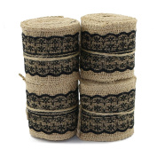 UEETEK 4pcs 2M6CM Natural Jute Burlap Ribbon Pink Lace Craft Hessian Table Runner for Wedding Part Home Deco