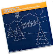 Groovi Parchment Embossing Plate - Winter Landscape A5 - Laser Etched Acrylic for Parchment Craft