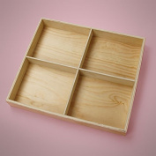 Papermart Pine 4 Section Unfinished Wood Tray 13-1/8X11-3/8X1-1/2