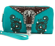 Lunar Lily Western Zipper Wristlet Wallet Cross Concho Buckle Bling