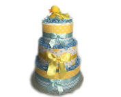 Yellow and Blue Rubber Ducky Bubbles Baby Shower Nappy Cake
