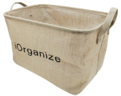 iOrganize Jute Storage Basket by The C.H.O. - Collapsible Tote Container for Kids, Baby, and Pet Toys - Organise Children + Toddler Toy Rooms - Portable Car Truck and SUV Trunk Organiser