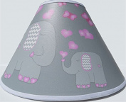 Pink Elephant Lamp Shade with Hearts and Butterflies / Elephant Nursery Decor