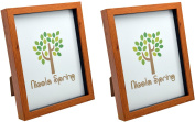 Nicola Spring Dark Wood Effect 8x10 Box Photo Frame - Standing & Hanging - Pack of 2
