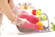 Dishwashing Gloves Fleece Warmer Winter Flower Latex Rubber Kitchen Gloves with Dexterity and Durability Pink