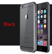 iPhone 7 Plus Case,Inspirationc PREMIUM BUMPER Glimmer lustre Electroplated & Transparent Design Slim Premium Soft Back Cover for.iPhone 7 Plus 14cm --Black