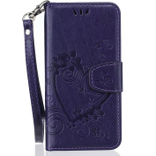 iPhone 7 Wallet Case Fashion Butterfly Printing PU Leather Flip Case with Hand Strap Credit Card Slot Holder Stand Feather Cover Case for iPhone 7