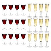 Rink Drink Plastic Outdoor Wine Glasses & Champagne Flutes - Set Of 24