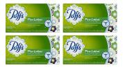 Puffs Plus Lotion Facial Tissues, 4 Family Boxes, 124 Tissues per Box