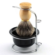 Father or Men's Shaving Gift Set Stainless Steel Shaving Brush Razor Stand Holder Shaving Bowl Mug Set and Pure Badger Hair Shaving Brush