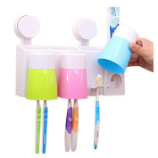Hooao Automatic Toothpaste Dispenser Toothbrush/Cup Holder Sets