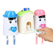 Hooao Cartoon Happy Family Automatic Toothpaste Dispenser Toothbrush/Cup Holder Sets