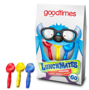 Goodtimes LunchMates Colourful Red,Yellow, And Blue Disposable Plastic 12cm Mini Kids Spoons 60 Pack Box