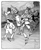 """Wizard of Oz, """"Marvellous Land of Oz"""" (1904), Black & White Fine Art Print Featuring Pumpkinhead, Tip, The Tin Man, & Wogglebug. Perfect for a Children's Room, Playroom, or Nursery Room"""