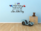 Planes, trains, trucks and toys there's nothing quite like little boys (PRINTED plane, train, truck set) cute inspirational home vinyl wall quotes decals sayings art lettering