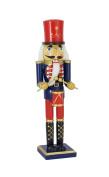 Wood Drummer Nutcracker Figurine - 38cm Blue/Red