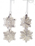 Melrose White and Silver Snowflake Christmas Ornaments, Set of 2