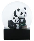 11cm Adult Panda with Baby Panda sitting in Water Globe