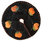 Handmade 60cm Felt Applique Pumpkin Halloween Vine Tree Skirt Small Tabletop Size