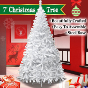 NEW 2.1m White Classic Pine Christmas Tree Artificial Realistic Natural Branches-Unlit 210CM 1000 Tips With Metal Stand
