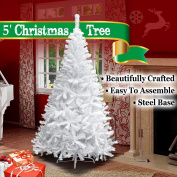 NEW 1.5m White Classic Pine Christmas Tree Artificial Realistic Natural Branches-Unlit 150CM 450 Tips With Metal Stand