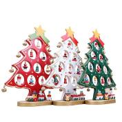 ULTNICE DIY Cartoon Wooden Christmas Tree Decorations Christmas Gift Ornament Table Desk Decoration