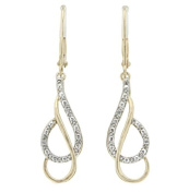 0.04 CTW DIAMOND DANGLE EARRING IN GOLD OVER SILVER
