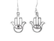 925 Sterling Silver Hamsa Hand of God Fatima Evil Eye Protection Dangle Earrings Set