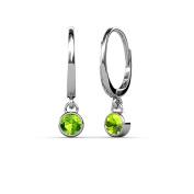 Peridot Bezel Set Solitaire Dangling Earrings 0.65 ct tw in 14K White Gold