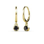 Black Diamond Bezel Set Solitaire Dangling Earrings 0.55 ct tw in 14K Yellow Gold