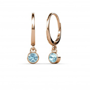 Aquamarine Bezel Set Solitaire Dangling Earrings 0.60 ct tw in 14K Rose Gold