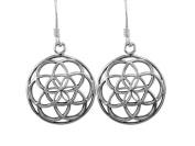 925 Sterling Silver Flower of Life Sacred Geometry Spiritual Dangle Round Earrings Set