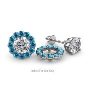 London Blue Topaz Halo Jacket for Stud Earrings 0.63 ct tw in 14K White Gold