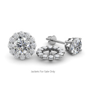 White Sapphire Halo Jacket for Stud Earrings 0.57 ct tw in 14K White Gold